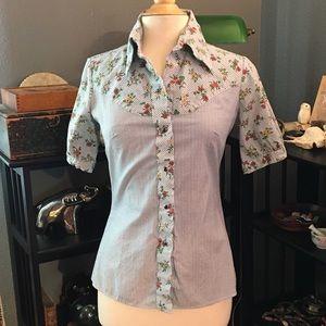 Vtg Miller Western Wear shirt, gingham & flowers
